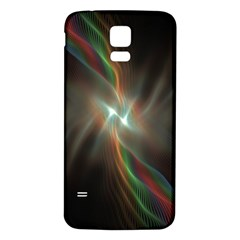 Colorful Waves With Lights Abstract Multicolor Waves With Bright Lights Background Samsung Galaxy S5 Back Case (white) by Simbadda