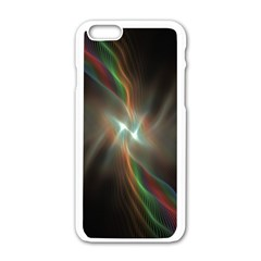 Colorful Waves With Lights Abstract Multicolor Waves With Bright Lights Background Apple Iphone 6/6s White Enamel Case by Simbadda