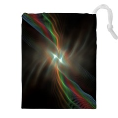 Colorful Waves With Lights Abstract Multicolor Waves With Bright Lights Background Drawstring Pouches (xxl) by Simbadda