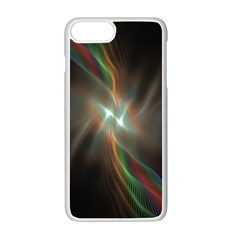 Colorful Waves With Lights Abstract Multicolor Waves With Bright Lights Background Apple Iphone 7 Plus White Seamless Case by Simbadda