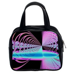 Blue And Pink Swirls And Circles Fractal Classic Handbags (2 Sides) by Simbadda