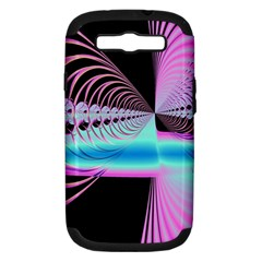 Blue And Pink Swirls And Circles Fractal Samsung Galaxy S Iii Hardshell Case (pc+silicone) by Simbadda
