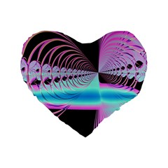 Blue And Pink Swirls And Circles Fractal Standard 16  Premium Heart Shape Cushions by Simbadda