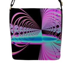 Blue And Pink Swirls And Circles Fractal Flap Messenger Bag (l)  by Simbadda