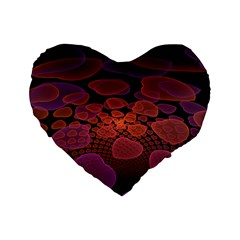 Heart Invasion Background Image With Many Hearts Standard 16  Premium Flano Heart Shape Cushions by Simbadda