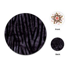 Skin4 Black Marble & Black Watercolor Playing Cards (round)