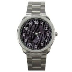 Skin3 Black Marble & Black Watercolor (r) Sport Metal Watch by trendistuff