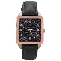 Skin2 Black Marble & Black Watercolor (r) Rose Gold Leather Watch  by trendistuff