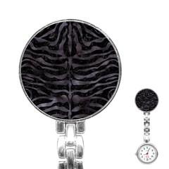 Skin2 Black Marble & Black Watercolor Stainless Steel Nurses Watch by trendistuff