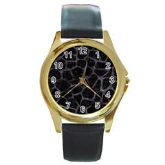 Skin1 Black Marble & Black Watercolor (r) Round Gold Metal Watch by trendistuff