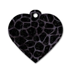 Skin1 Black Marble & Black Watercolor (r) Dog Tag Heart (two Sides) by trendistuff