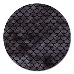 Scales1 Black Marble & Black Watercolor (r) Magnet 5  (round) by trendistuff
