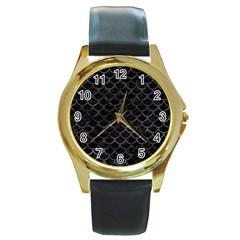 Scales1 Black Marble & Black Watercolor Round Gold Metal Watch by trendistuff