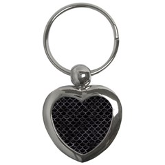 Scales1 Black Marble & Black Watercolor Key Chain (heart) by trendistuff