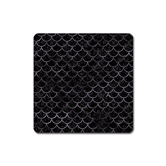 Scales1 Black Marble & Black Watercolor Magnet (square) by trendistuff