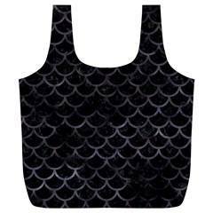 Scales1 Black Marble & Black Watercolor Full Print Recycle Bag (xl) by trendistuff