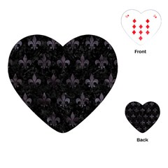 Royal1 Black Marble & Black Watercolor (r) Playing Cards (heart) by trendistuff