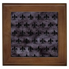 Royal1 Black Marble & Black Watercolor Framed Tile by trendistuff