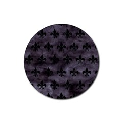 Royal1 Black Marble & Black Watercolor Rubber Round Coaster (4 Pack) by trendistuff