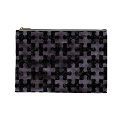 Puzzle1 Black Marble & Black Watercolor Cosmetic Bag (large) by trendistuff