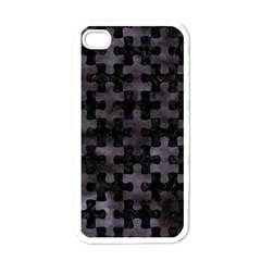 Puzzle1 Black Marble & Black Watercolor Apple Iphone 4 Case (white) by trendistuff