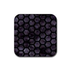 Hexagon2 Black Marble & Black Watercolor (r) Rubber Square Coaster (4 Pack) by trendistuff
