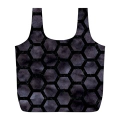 Hexagon2 Black Marble & Black Watercolor (r) Full Print Recycle Bag (l) by trendistuff