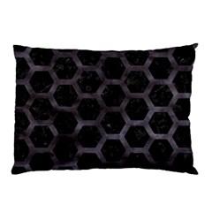 Hexagon2 Black Marble & Black Watercolor Pillow Case by trendistuff