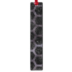 Hexagon2 Black Marble & Black Watercolor Large Book Mark by trendistuff
