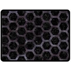 Hexagon2 Black Marble & Black Watercolor Double Sided Fleece Blanket (large) by trendistuff