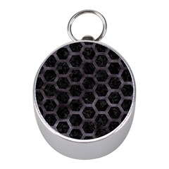 Hexagon2 Black Marble & Black Watercolor Silver Compass (mini) by trendistuff