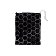 Hexagon2 Black Marble & Black Watercolor Drawstring Pouch (small) by trendistuff