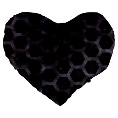 Hexagon2 Black Marble & Black Watercolor Large 19  Premium Flano Heart Shape Cushion by trendistuff