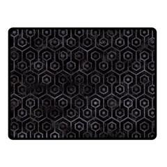 Hexagon1 Black Marble & Black Watercolor Fleece Blanket (small) by trendistuff