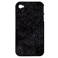 Hexagon1 Black Marble & Black Watercolor Apple Iphone 4/4s Hardshell Case (pc+silicone) by trendistuff