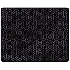 Hexagon1 Black Marble & Black Watercolor Double Sided Fleece Blanket (medium) by trendistuff