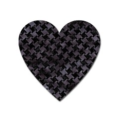 Houndstooth2 Black Marble & Black Watercolor Magnet (heart) by trendistuff