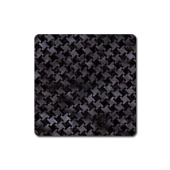 Houndstooth2 Black Marble & Black Watercolor Magnet (square) by trendistuff