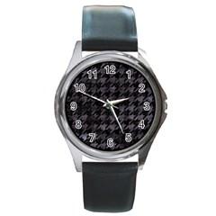 Houndstooth1 Black Marble & Black Watercolor Round Metal Watch by trendistuff