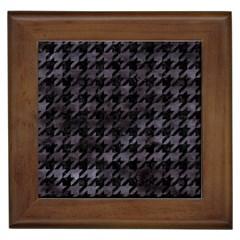 Houndstooth1 Black Marble & Black Watercolor Framed Tile