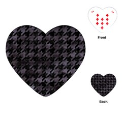 Houndstooth1 Black Marble & Black Watercolor Playing Cards (heart) by trendistuff