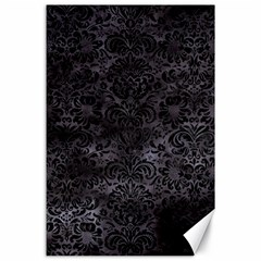 Damask2 Black Marble & Black Watercolor (r) Canvas 24  X 36  by trendistuff