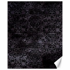 Damask2 Black Marble & Black Watercolor (r) Canvas 11  X 14  by trendistuff