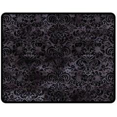 Damask2 Black Marble & Black Watercolor (r) Fleece Blanket (medium) by trendistuff