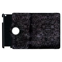 Damask2 Black Marble & Black Watercolor (r) Apple Ipad 2 Flip 360 Case by trendistuff