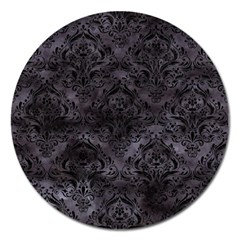 Damask1 Black Marble & Black Watercolor (r) Magnet 5  (round) by trendistuff