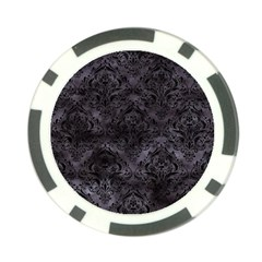 Damask1 Black Marble & Black Watercolor (r) Poker Chip Card Guard by trendistuff