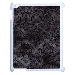 Damask1 Black Marble & Black Watercolor (r) Apple Ipad 2 Case (white) by trendistuff