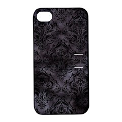 Damask1 Black Marble & Black Watercolor (r) Apple Iphone 4/4s Hardshell Case With Stand by trendistuff