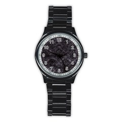 Damask1 Black Marble & Black Watercolor (r) Stainless Steel Round Watch by trendistuff